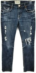 BIG STAR Womens Nina Straight Stretch Fot Distressed Destroyed Jeans Size 29R $29.95