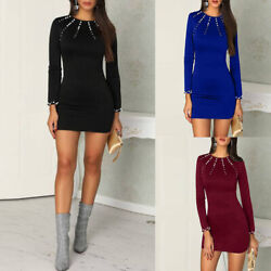 Womens Autumn Casual Round Neck Long Sleeve Bag Hip Pearls Beaded Short Dresses $15.42
