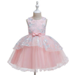Girls Princess Birthday Party Bowknot Wrinkle Tulle Ball Gown Long Dress $17.13
