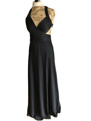 BCBG Long Black Dress Lined Formal Party Cocktail Cut Out Sides Tie Back Size 10 $39.00