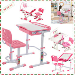 Height Adjustable Study Desk And Chair Set School Childs Kids Student Home Table $79.99