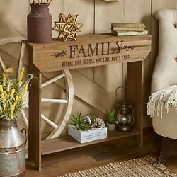 Farmhouse Sentiment Console Table quot;Familyquot; Rustic Country Decor $50.98