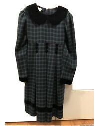 Bonnie Jean Velvet Holiday Party Plaid Green Girls Dress Size 6X $18.00