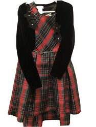 Gorgeous 2 Pce EMILY West Velvet Top Holiday Party Plaid Red Girls Dress Size 6X $18.00