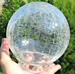 Vintage Crackle Glass Ceiling Light Fixture Globe Round 3quot; Fitter Thick Glass $20.00