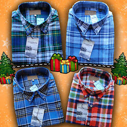 Mens Long Sleeve Button Up Plaid Flannel Soft Cotton Shirts Men#x27;s M L XL 2XL $9.97