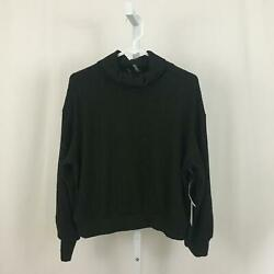 1. State Nordstrom NEW Women#x27;s Size Medium Black Ribbed Turtleneck Sweater NWT $14.97