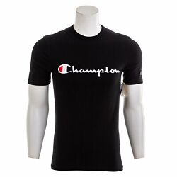 CHAMPION Men#x27;s Heritage Short Sleeve Black T Shirt Logo Tee $4.99