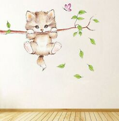 Lovely Cat wall kids Children Bedroom Decals Decor Mural cute Animals stickers $0.99