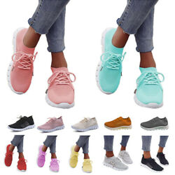 WOMENS LADIES KNIT TRAINERS LACE UP SPORT SNEAKERS CASUAL RUNNING WOMEN SHOES US $21.99