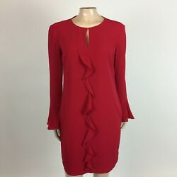 NEW London Times Women#x27;s Dress 6P 6 petite Red Longs Sleeve Bell Party Formal L2 $24.99