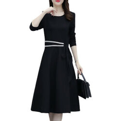 Womens Long Sleeve Crew Neck Midi Swing Dress Casual Evening Gown Party Dresses $18.52