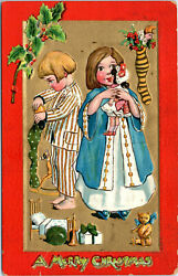 Merry Christmas Kids and Stockings Dolls Arts and Crafts Postcard T $1.29