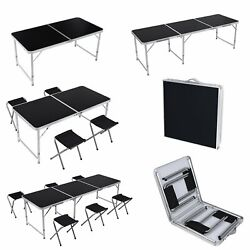 4 6FT Black Folding Table Portable Outdoor Garden Picnic Party Table Adjustable $31.99