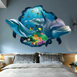 3D Dolphin Ocean Wall Stickers Decor Decals Stereoscopic Vivid Vinyl Kids Room $6.18