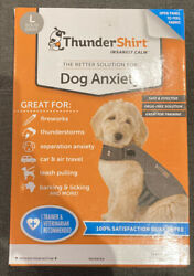 Thundershirt Dog LARGE 41 64 lbs Gray Solution Anxiety Thunder Fireworks Travel $24.69