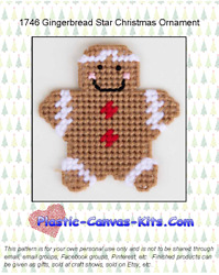 Gingerbread Star Christmas Ornament Plastic Canvas Pattern or Kit $4.49