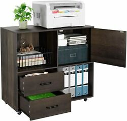 Mobile Lateral Filing Cabinet with Wheels Large Modern Printer Stand with 2 Dra $179.90