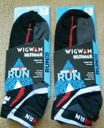Wigwam 2 pak Ultimax Ironman mens black L 9 12 socks w redamp;gray Slight imperfect $16.00