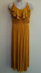Forever 21 Mustard Yellow Solid Spaghetti Strap Long Maxi Dress Plus Size 2X $17.09