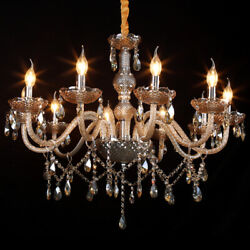 10 Arm Crystal Light Cognac Crystal Glass Chandelier Ceiling Pendant Fixtures $109.05