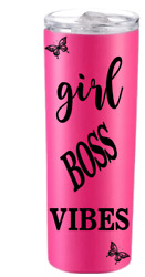 Skinny Stainless Steel Tumbler 20oz Double Wall Girl Boss quot;Great Pricequot; $18.50