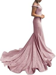 LanierWedding Women#x27;s Off The Shoulder Glittery Mermaid Long Party Gown $201.76