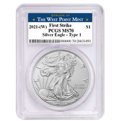 2021 W $1 American Silver Eagle PCGS MS70 FS West Point Label $65.48