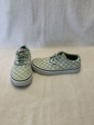 Vans Off The Wall Girls Sea Green glitter Checkerboard Shoes size 1 Y $15.00