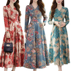 Women#x27;s Long Sleeve Floral Maxi Dress Party Evening Gown Wedding Swing Dresses $14.72