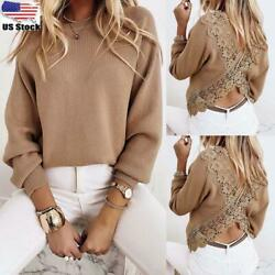 Women#x27;s Sexy Backless Lace Long Sleeves Knit Top Sweater Jumper Slim Blouse Tee $18.99