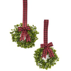 Cabinet Hanging Decorative Wreaths Set of 2 Black and Red Plaid $16.98