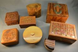 Box Lot of 8 Old Vintage Boxes Hand Made Indian USA Stamp Box amp; Coasters $125.00