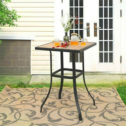 Patio Bar Table Square Wooden Like Outdoor Bar Height Table For Garden Bistro $95.59