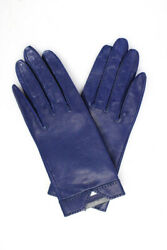 Hermes Womens Leather Gloves Navy Blue Size 6.5 $460.00