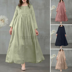 Women Vintage Kaftan Casual Holiday Party Gown Soldi Loose Maxi Shirt Dress Plus $22.55