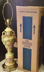Art Deco Rare Stiffel Table Lamp Signed by Artist Gold Trimmed HP Original Box $88.00
