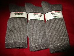 3 Pair Large Pocono 75% Merino Wool Hiker Men Socks 9 12 Made in USA $19.99