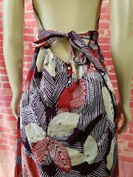 BCBG Max Azria Printed Sequined Multicolor Halter Maxi Women#x27;s Dress Sz L B6 $24.00