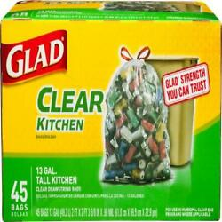 Glad Tall Kitchen Trash Bags 13 Gallon 45 Bags Clear Recycling $19.73
