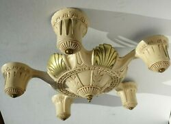 Early 1900s Antique Art Deco Ceiling Light Fixture 5 Bulb Five Arm Chandelier  $125.00