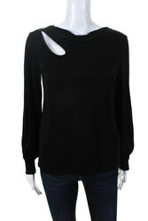Trina Turk Womens Cut Out Boat Neck Molise Top Black Size Extra Small $59.99