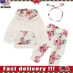 ⭐Newborn Baby Girl Clothes Hooded Tops Pants Floral Outfits Set Infant Tracksuit $6.54