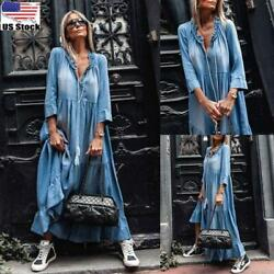 Women Casual Loose Denim Maxi Dress Ladies Long Sleeve Party Holiday Long Dress