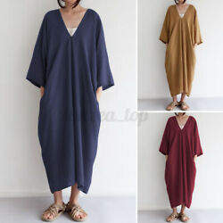 US Women Long Sleeve V Neck Cotton Shirt Dress Solid Pleated Casual Long Dresses $17.85