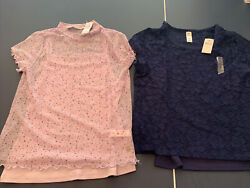 2 Justice girls size 12 Shirts Tops Lace Navy amp; Sheer Floral With Camis $14.99
