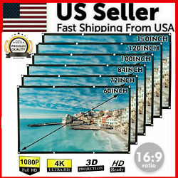 Portable Foldable Projector Screen 16:9 HD Outdoor Home Cinema Theater 3D Movie $24.89