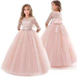Flower Girls Dresses For Wedding Lace Bow Girl Dress Party Long Formal Gown $14.98