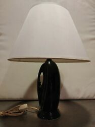 Vintage Mid Century Modern Ceramic Table Lamp Black White Shade $24.99