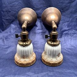 Pair Brass Early Electric Sconces With Antique Shades 72D $630.00